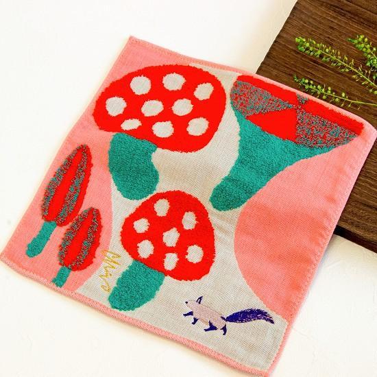 morita MiW ガーゼパイルハンカチ(リスと可愛い茸)の画像