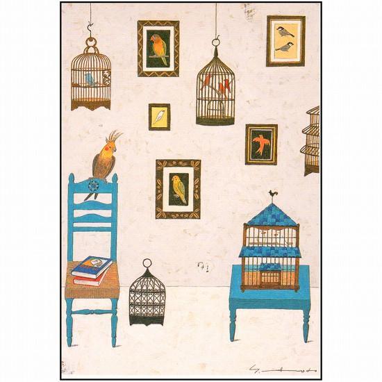 マツモトヨーコ ポストカード(鳥かごとフレーム)の画像