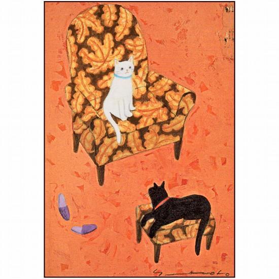 マツモトヨーコ ポストカード(白猫と黒猫)の画像