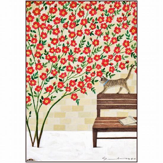 マツモトヨーコ ポストカード(赤い花と猫)の画像