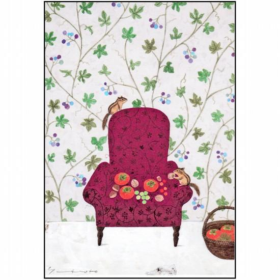 マツモトヨーコ ポストカード(リスと秋の実り)の画像