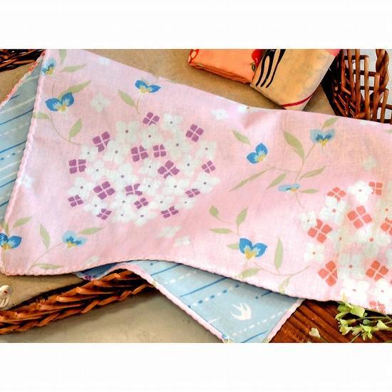 京都くろちく 両面ガーゼはんかち(紫陽花と露草)の画像