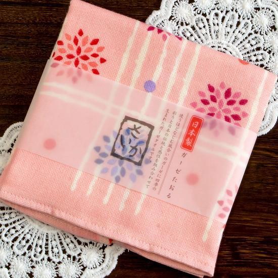 さいか ガーゼハンカチタオル(花格子)ピンクの画像