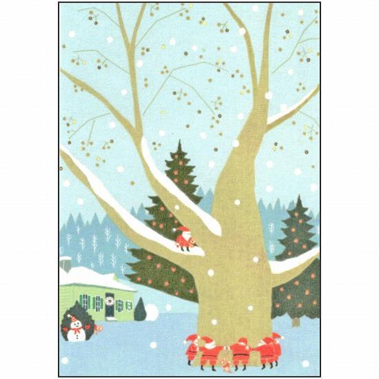 ひらいみも ポストカード(子ブタとサンタ:木を囲んで)の画像