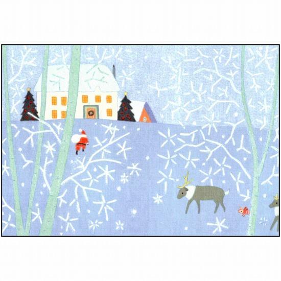 ひらいみも ポストカード(子ブタとサンタ:白い聖樹)の画像