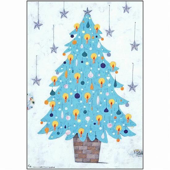 マツモトヨーコ ポストカード(青いクリスマスツリー)の画像