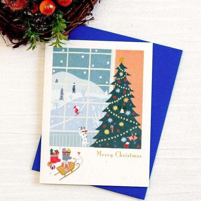 ひらいみも クリスマスカード(サンタのスキー)の画像