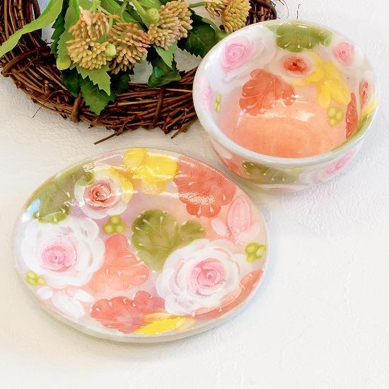 工房ゆずりは 茶菓セット(釉彩ローズ)No.70の画像