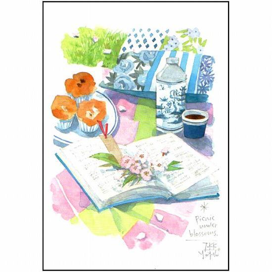 三好貴子 ポストカード(花の下でピクニック)の画像