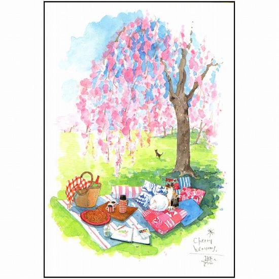 三好貴子 ポストカード(桜の下でお昼寝)の画像