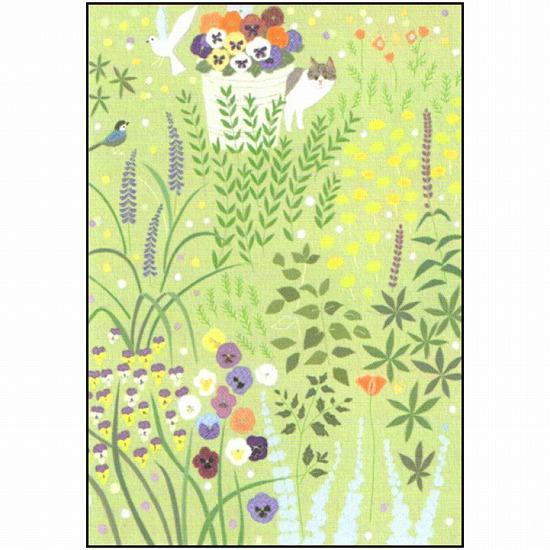 ひらいみも ポストカード(花風景:猫の花園)の画像