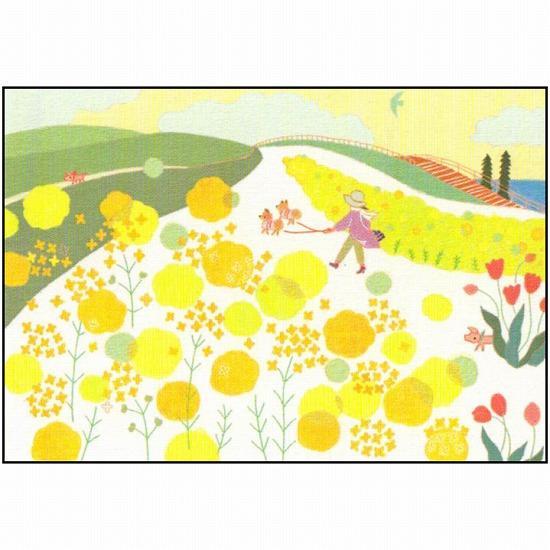 ひらいみも ポストカード(子ブタと菜の花散歩)の画像