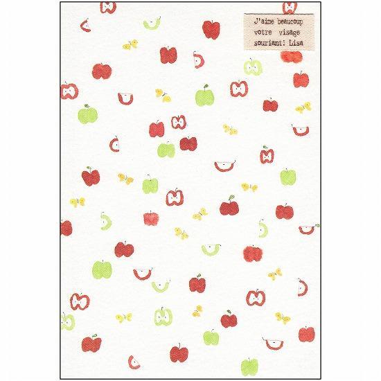 いわぶちさちこ ポストカード(リンゴとチョウチョ)の画像