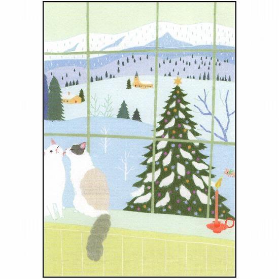 ひらいみも ポストカード(子ブタと窓の外のクリスマス)画像
