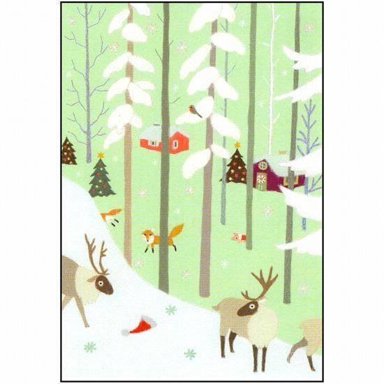 ひらいみも ポストカード(子ブタと森のクリスマス)画像