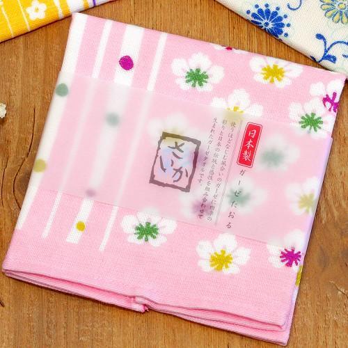 さいか ガーゼハンカチタオル(花縞)ピンクの画像