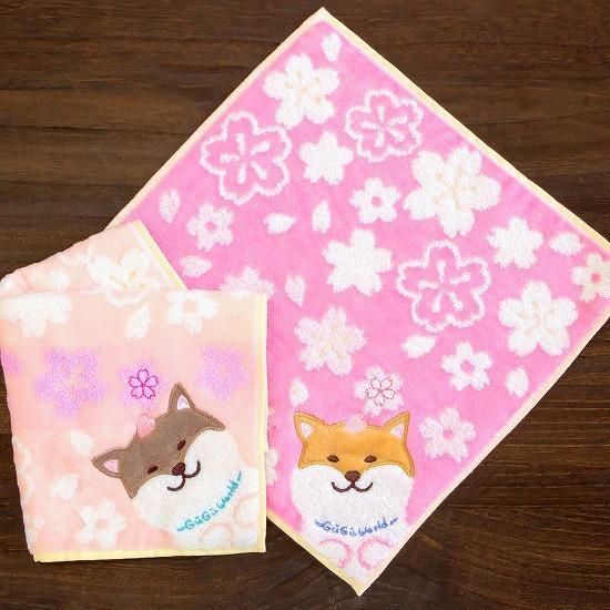 GuGu World タオルハンカチ(柴犬と桜)画像