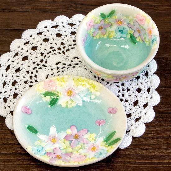 工房ゆずりは 茶菓セット(薄紅花景色)No.36画像