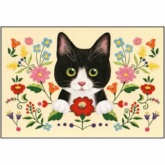 フェリシモ猫部ポストカード(ハチワレ刺繍)画像