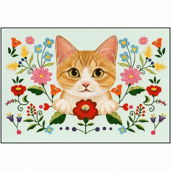 フェリシモ猫部ポストカード(チャトラ刺繍)画像