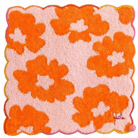 シビラ ミニタオルハンカチ(大花)オレンジ画像