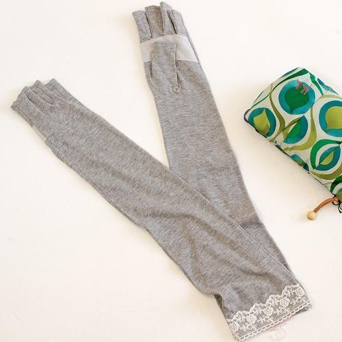 UV手袋(レース付)ロング丈 指切りタイプ グレーの画像
