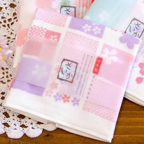 さいか ガーゼハンカチタオル(さくら折り紙)の画像