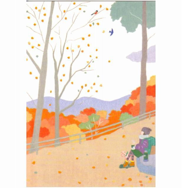 ひらいみも ポストカード(子ブタと秋の山道)の画像