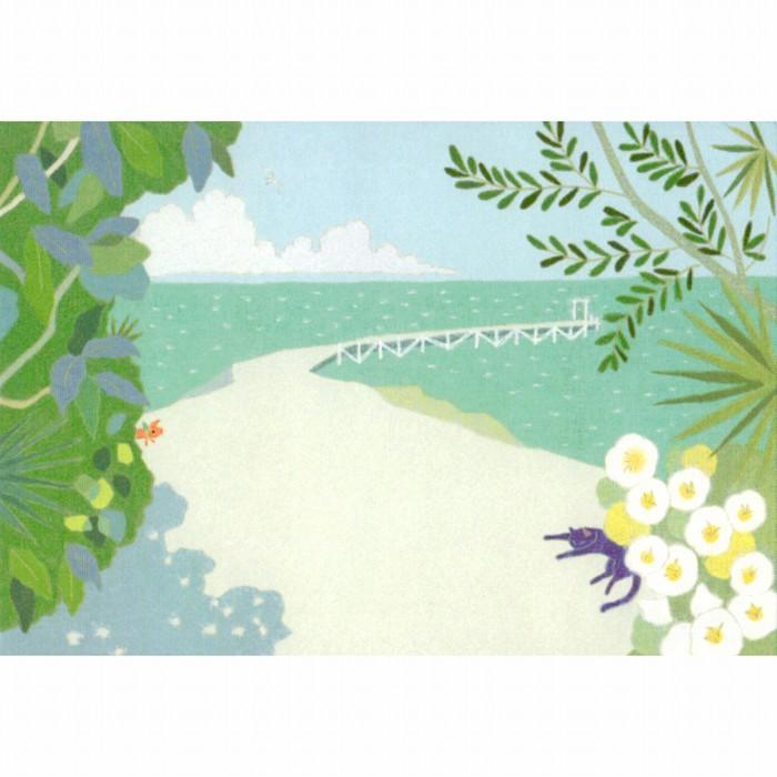 ひらいみも ポストカード(子ブタと桟橋)の画像