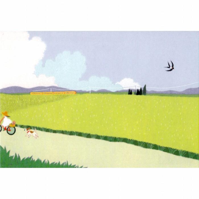 ひらいみも ポストカード(子ブタと夏の田舎風景)の画像
