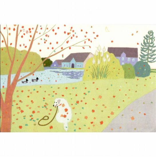 ひらいみも ポストカード(秋の落ち葉とワンコ)の画像