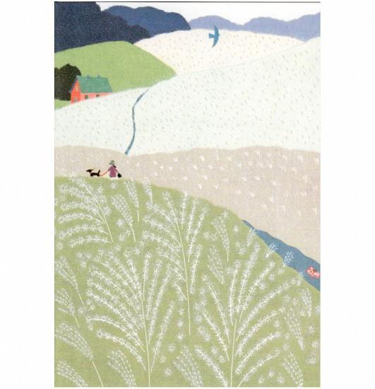 ひらいみも ポストカード(子ブタとススキの丘)の画像