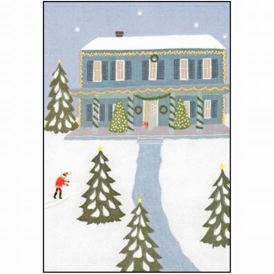 ひらいみも ポストカード(子ブタとサンタのころころ雪)の画像