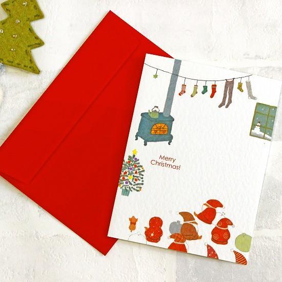 ひらいみも クリスマスカード(薪ストーブ)の画像