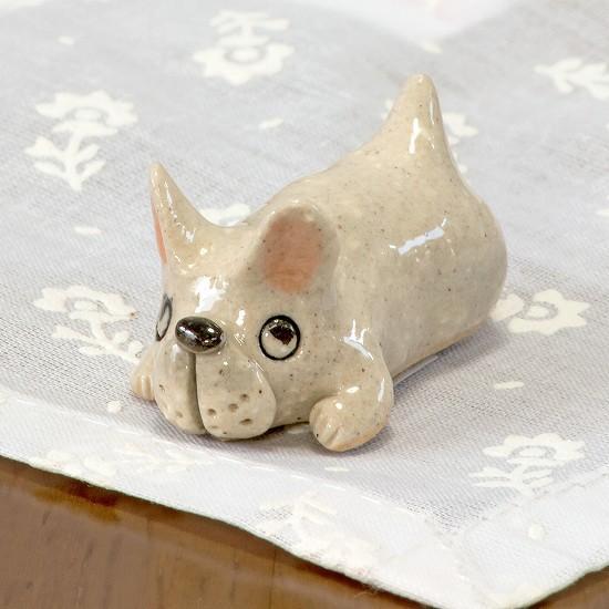 豆屋 箸置き(フレンチブルドッグ うつぶせ シロ)の画像