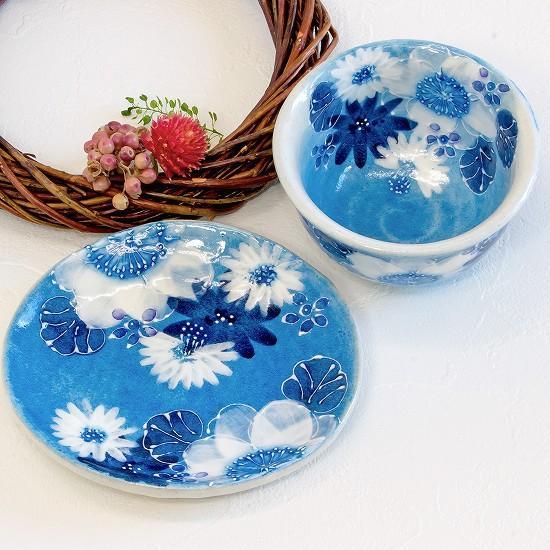 工房ゆずりは 茶菓セット(藍彩白絵花)No.38の画像