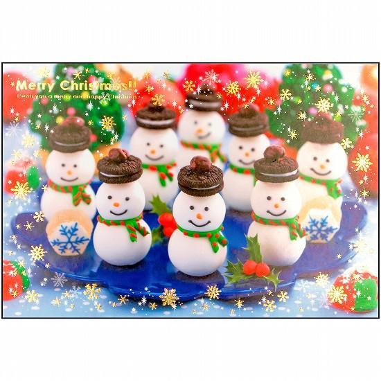 ちばたかこ クリスマスポストカード(雪だるま君)の画像