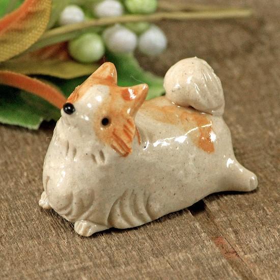 豆屋 箸置き(ポメラニアン オレンジ&ホワイト)の画像