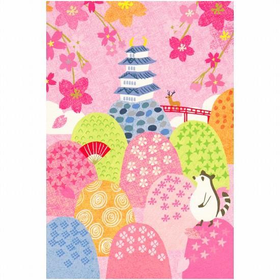 桜咲く日本ポストカード(お城)の画像