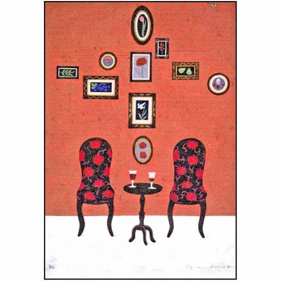 マツモトヨーコ ポストカード(椅子とワイン)の画像