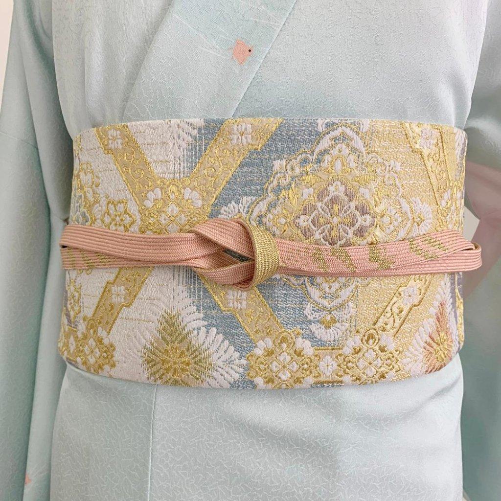 【日本製】高級正絹お太鼓帯 ☆Mサイズ 造り帯[SA005-OA]の画像