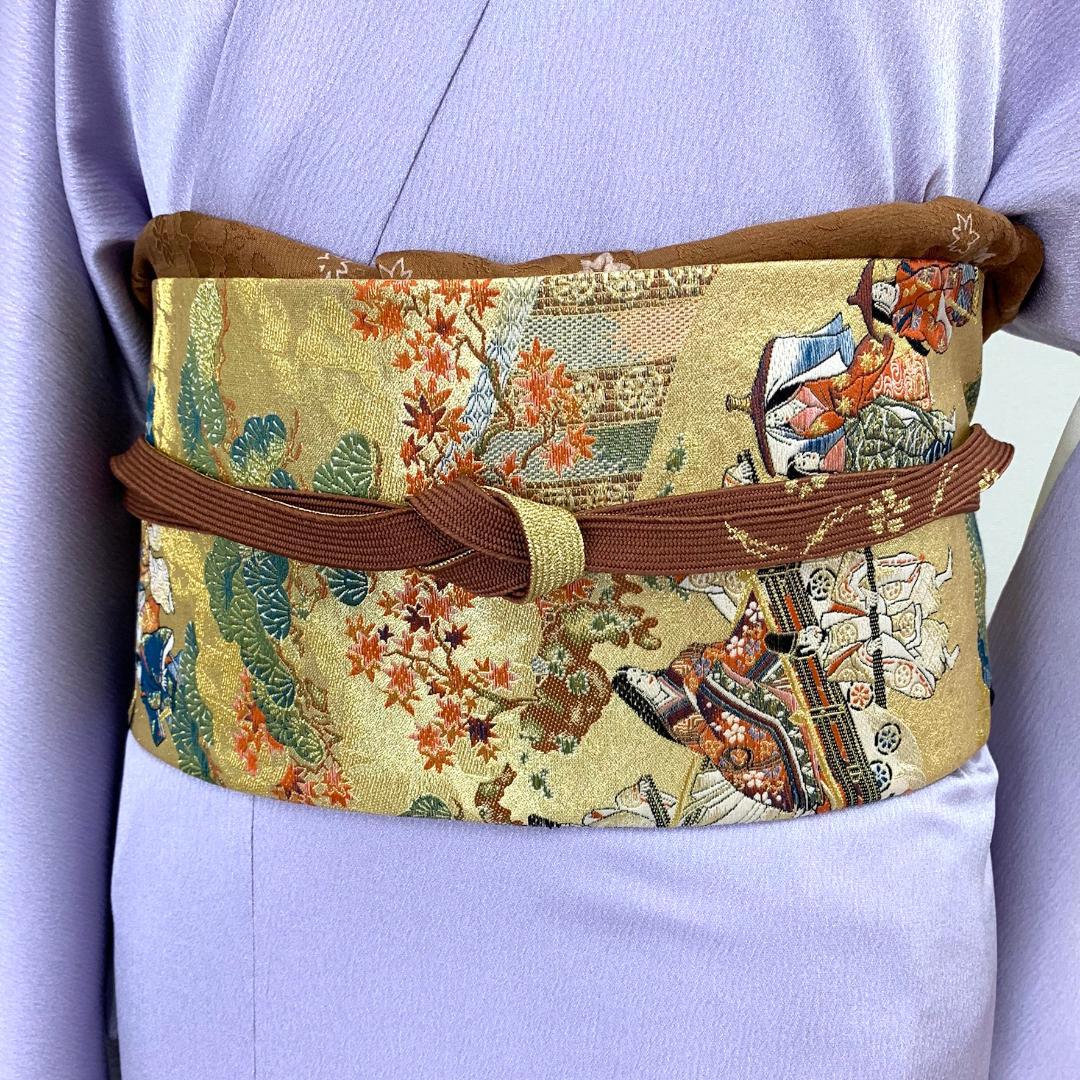 【日本製】高級正絹お太鼓帯 ☆Mサイズ 造り帯[SA008-OA]画像