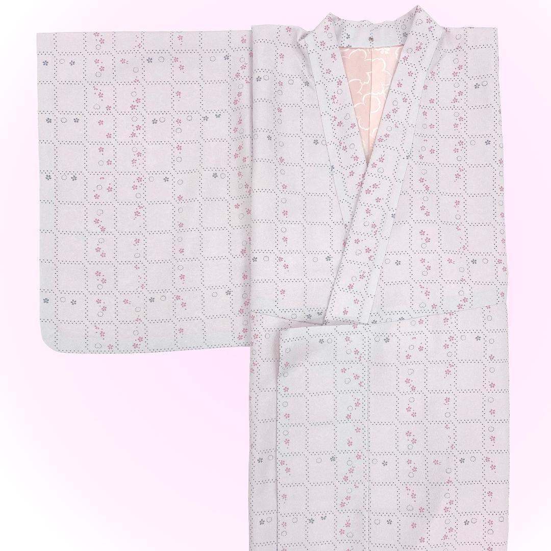 【日本製】 単品(衿付)高級着物 簡単な半衿プレゼント![薄ピンク系][A006][Sサイズ]画像