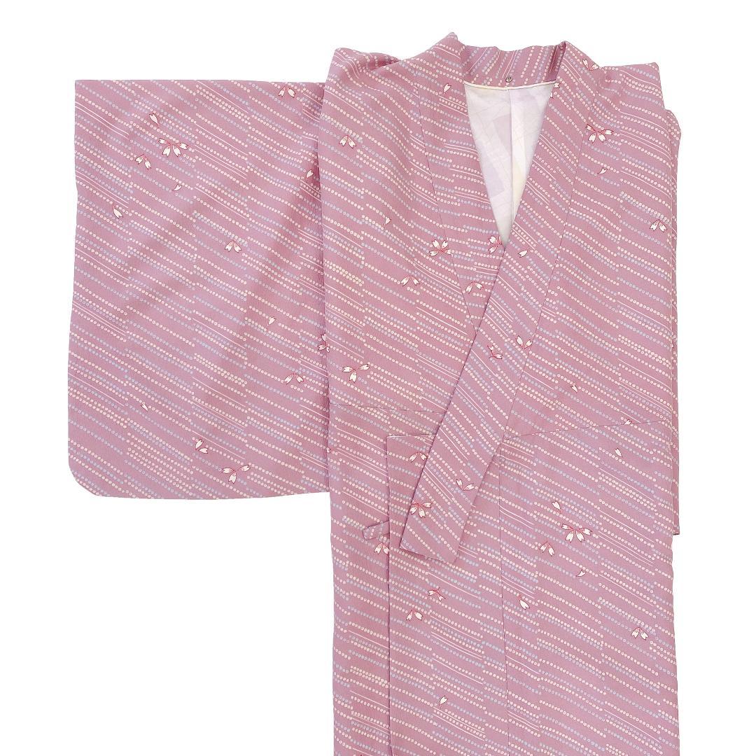【日本製】 単品(衿付)高級着物 簡単な半衿プレゼント![ピンク系][A009][Lサイズ]画像