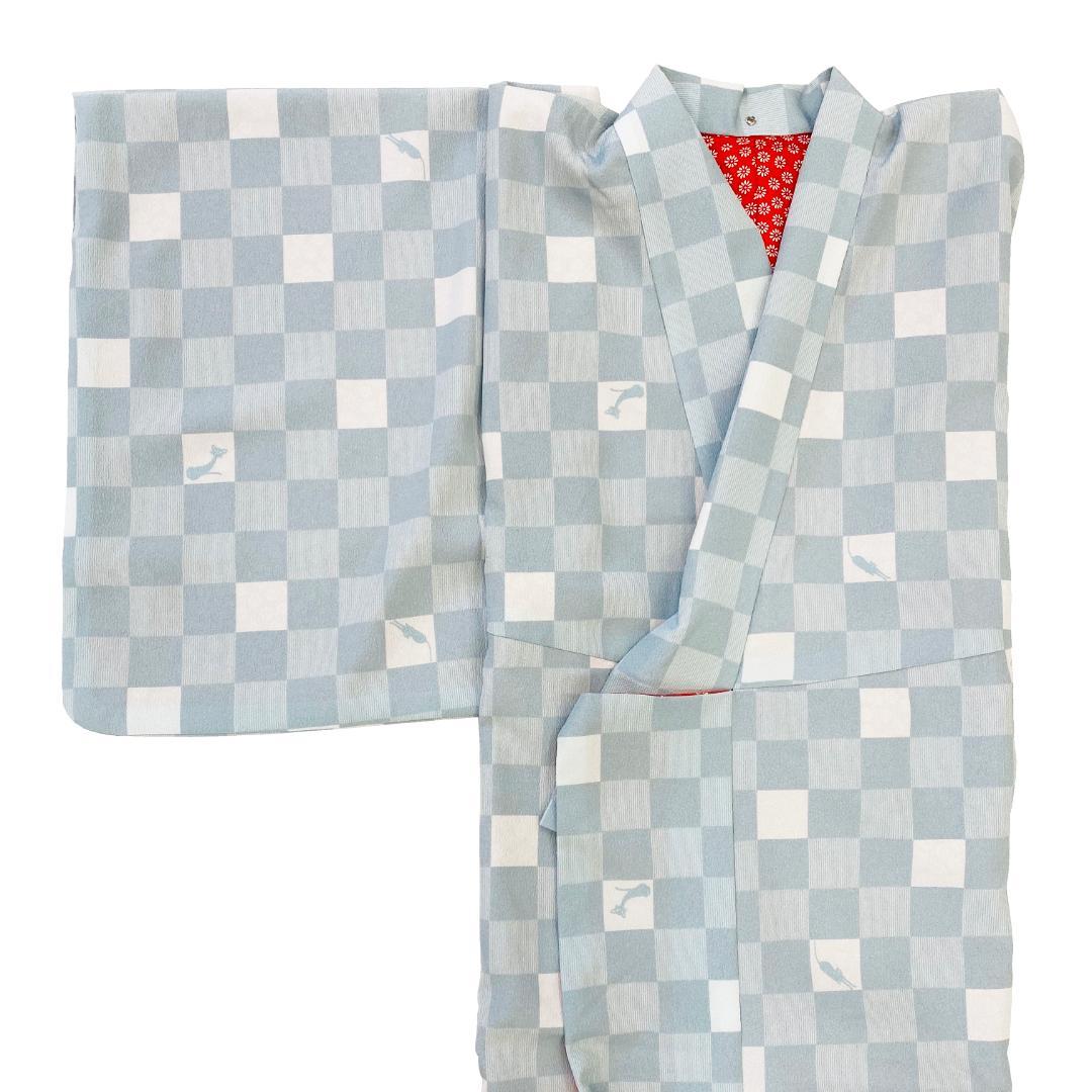 【日本製】 単品(衿付)高級着物 簡単な半衿プレゼント![水色系][A014][Mサイズ]画像