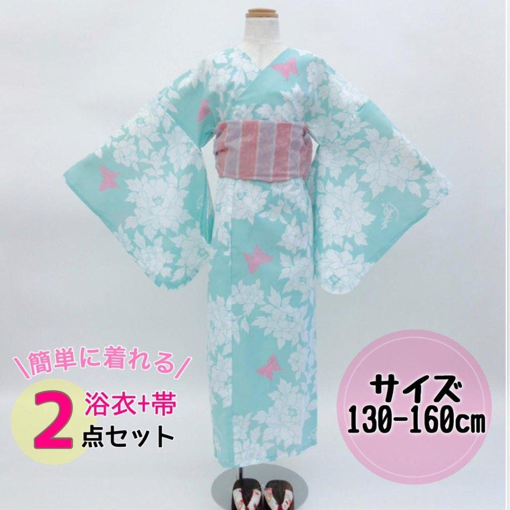 子供用浴衣+兵児帯2点セット「蝶々姫・薄緑」《130〜160》簡単に着れるかわいいジュニア浴衣♪の画像