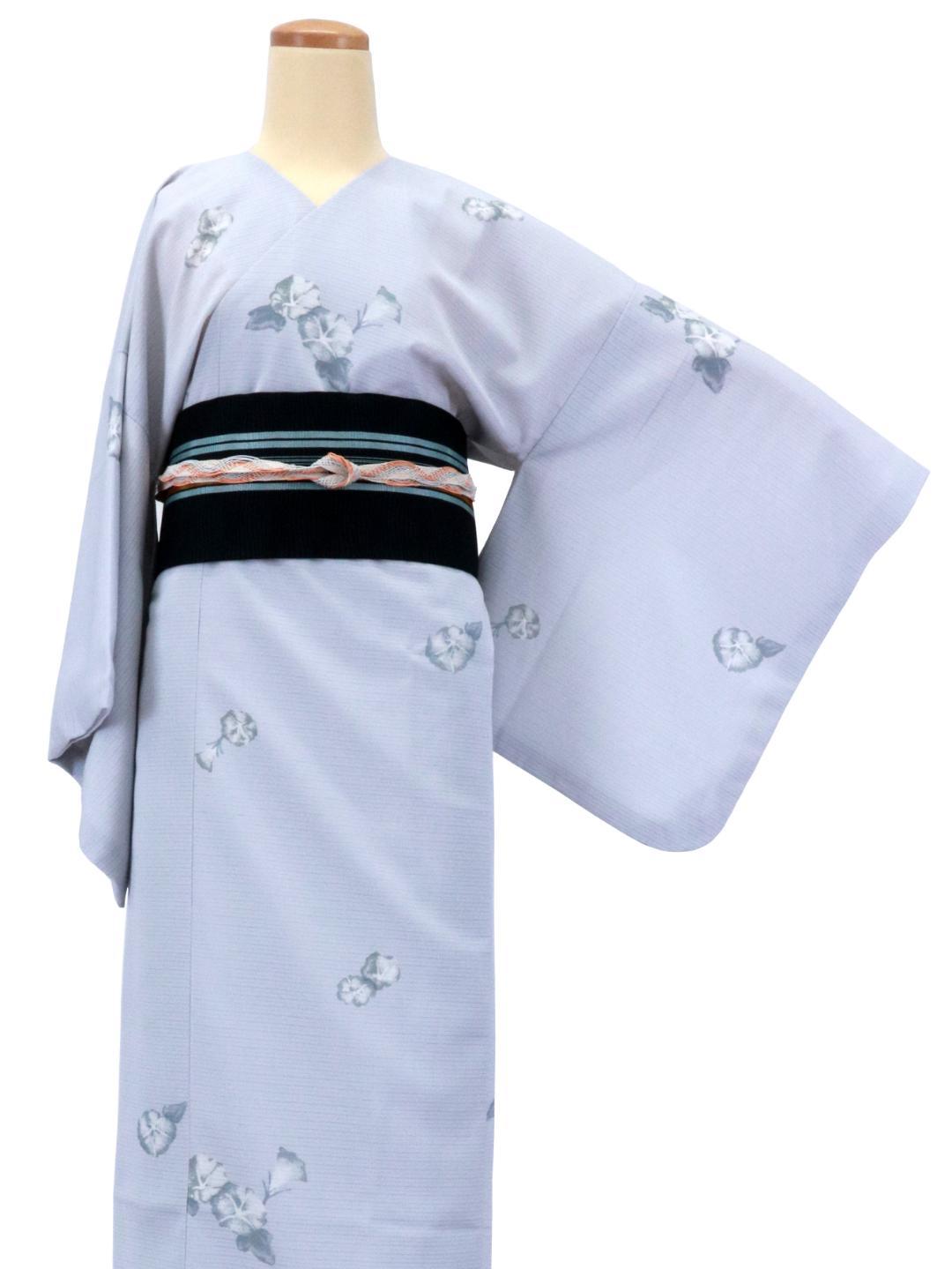 【日本製】 単品(衿なし)高級夏着物 絽 [水色系][N036][STサイズ]画像