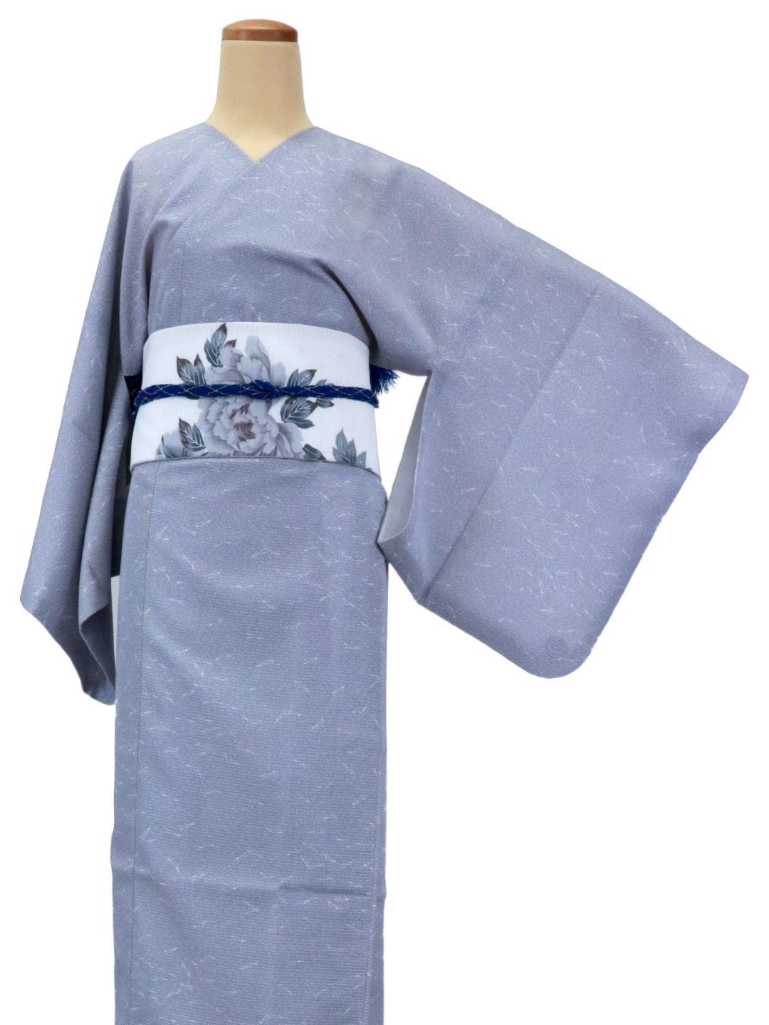 【日本製】 単品(衿なし)高級夏着物 絽 [薄青系色無地(地模様入り)][N041][STサイズ]画像