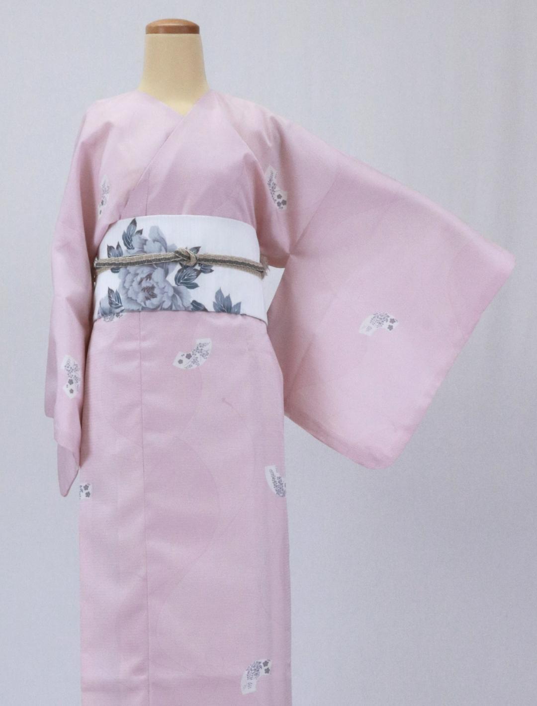 【日本製】 単品(衿なし)高級夏着物 絽 [ピンク系][N068][Mサイズ]画像