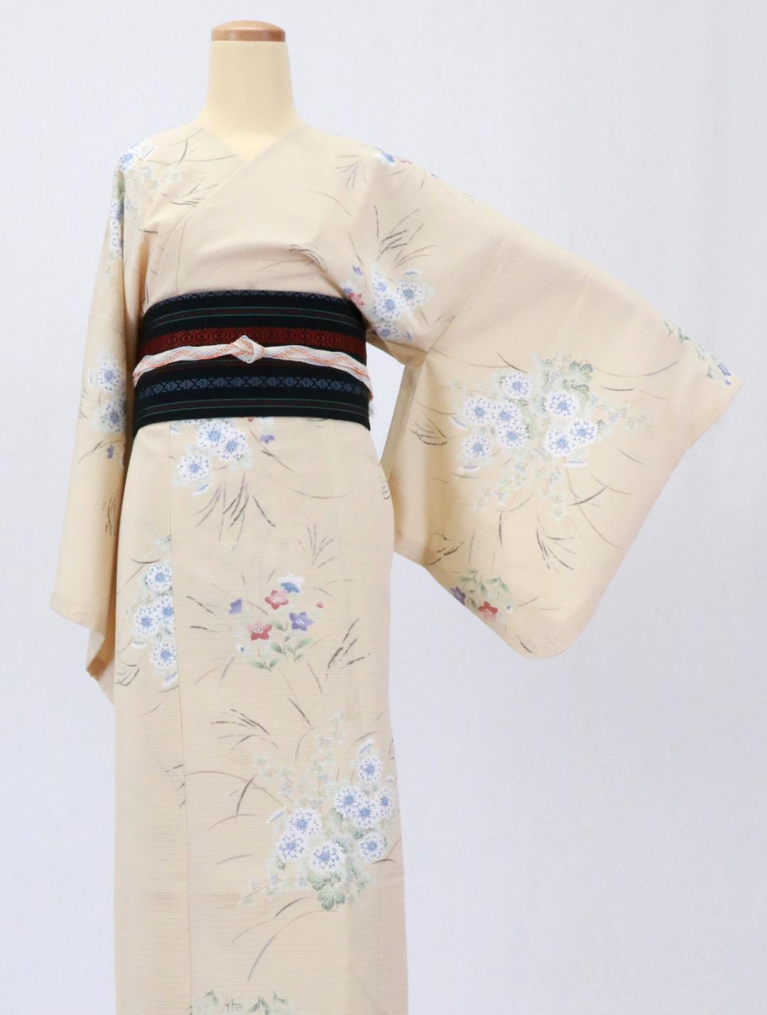 【日本製】 単品(衿なし)高級夏着物 絽 [オレンジ系][N075][MTサイズ]画像